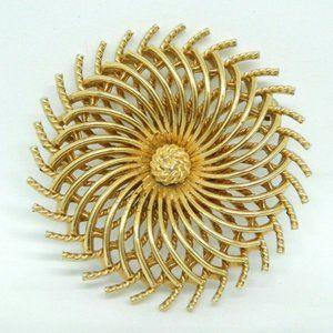 Crown Trifari Modernist Abstract Filigree Brooch